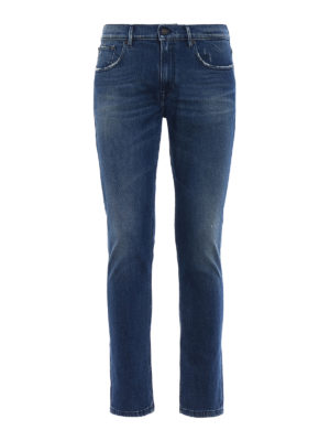 Dondup: straight leg jeans - Used effect stretch denim jeans