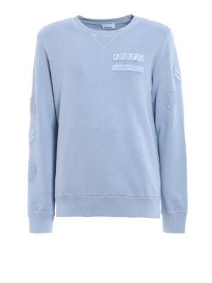 Dondup: Sweatshirts & Sweaters - Amry light blue crew neck sweat