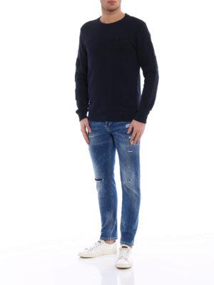 Dondup: Sweatshirts & Sweaters online - Amry dark blue crew neck sweatshirt