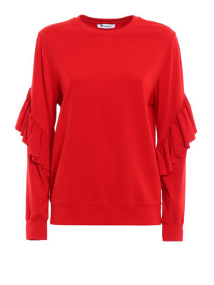 Dondup: Sweatshirts & Sweaters - Prasiolite frilled sweatshirt