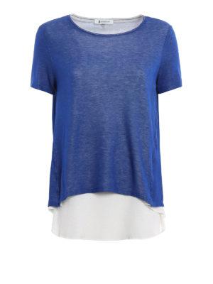 Dondup: t-shirts - Crepe silk insert Altair T-shirt