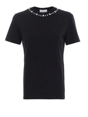 DONDUP: t-shirt - T-shirt nera con borchie scintillanti
