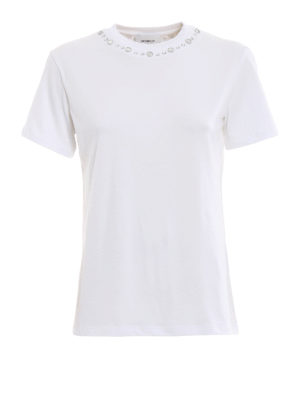DONDUP: t-shirt - T-shirt girocollo con borchie scintillanti