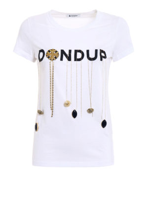 Dondup: t-shirts - Gipsy embellished cotton Tee