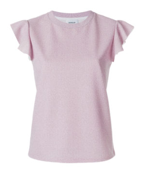 Dondup: t-shirts - Glowing Tee with flounced sleeves