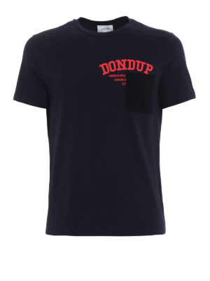 Dondup: t-shirts - Milo dark blue chest pocket Tee
