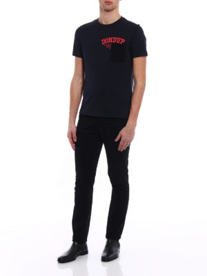 Dondup: t-shirts online - Milo dark blue chest pocket Tee