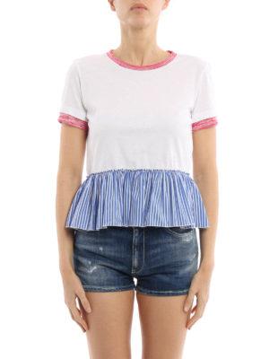 Dondup: t-shirts online - Striped peplum Tee
