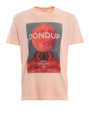 DONDUP: t-shirts - Printed pink cotton T-shirt