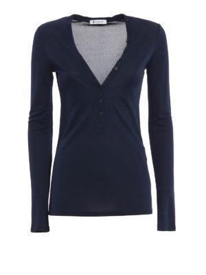 Dondup: t-shirts - Tegmen Henley collar T-shirt