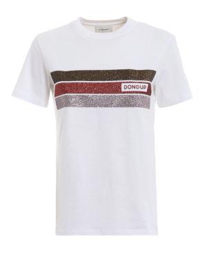 DONDUP: t-shirt - T-shirt bianca con bande glitterate