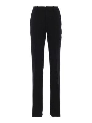 DONDUP: Pantaloni sartoriali - Pantaloni Saffie in lana stretch nera