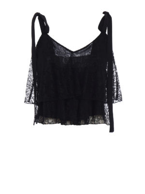 Dondup: Tops & Tank tops - Lace flounced short top