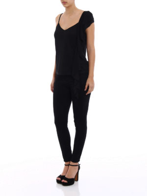 Dondup: Tops & Tank tops online - Black flounced top