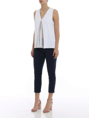 Dondup: Tops & Tank tops online - Silk panelled white flared top