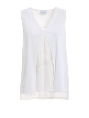 Dondup: Tops & Tank tops - Silk panelled white flared top