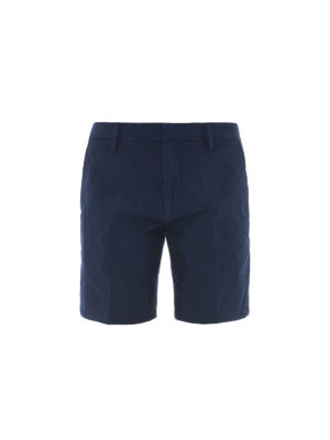 DONDUP: pantaloni shorts - Bermuda in cotone stretch blu