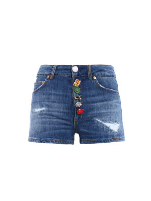 Dondup: Trousers Shorts - Klum distressed denim shorts
