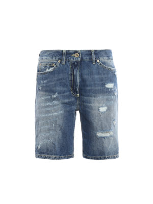 Dondup: Trousers Shorts - Newholly faded denim shorts