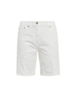 Dondup: Trousers Shorts - Newholly worn out denim short pants