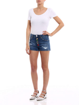 Dondup: Trousers Shorts online - Klum distressed denim shorts