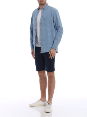 Dondup: Trousers Shorts online - Rolly dark blue denim shorts