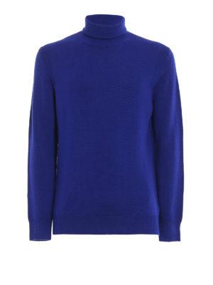 DONDUP: maglia a collo alto e polo - Dolcevita blu in morbida lana merino