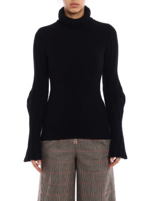 Dondup: Turtlenecks & Polo necks online - Wool cashmere ribbed black sweater