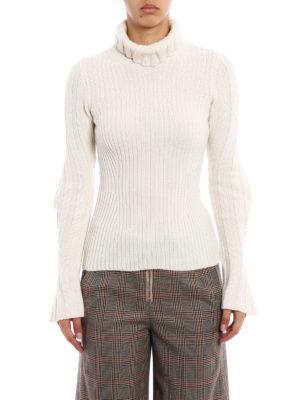 Dondup: Turtlenecks & Polo necks online - Wool cashmere ribbed white sweater