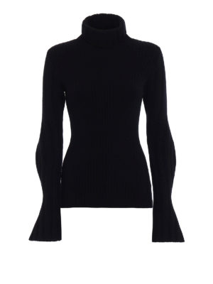 Dondup: Turtlenecks & Polo necks - Wool cashmere ribbed black sweater