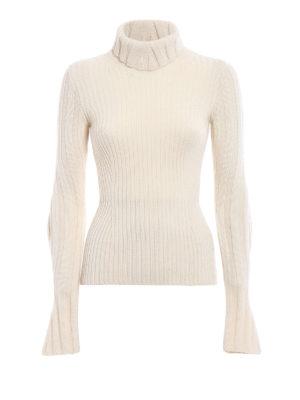 Dondup: Turtlenecks & Polo necks - Wool cashmere ribbed white sweater
