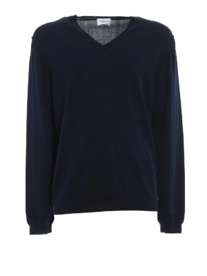 Dondup: v necks - Blue knitted cotton V-neck pullover