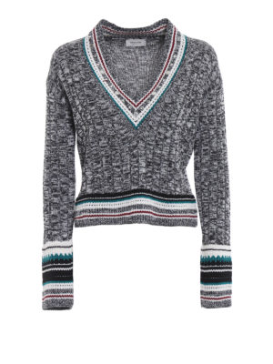 DONDUP: maglia collo a v - Pull a V in lana mélange con borchie