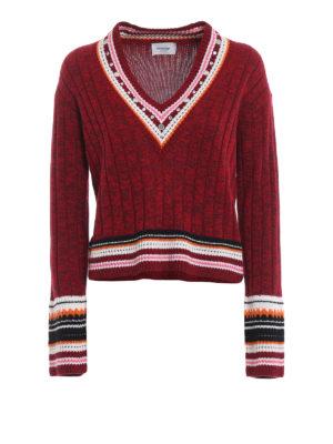 DONDUP: maglia collo a v - Pull a V  con borchie in lana mélange