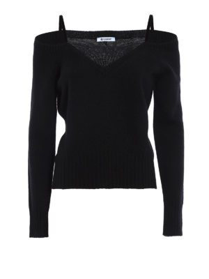 Dondup: v necks - Lace detail wool cashmere sweater