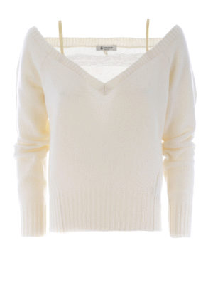 Dondup: v necks - Lace insert wool cashmere sweater