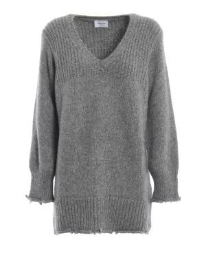 DONDUP: maglia collo a v - Pesante maglione in misto alpaca melange