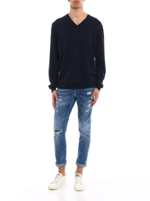 Dondup: v necks online - Blue knitted cotton V-neck pullover