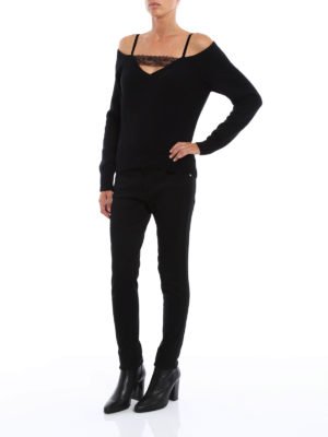 Dondup: v necks online - Lace detail wool cashmere sweater