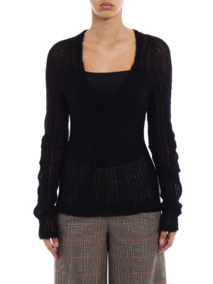 Dondup: v necks online - See-through mohair blend sweater