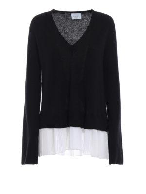 DONDUP: maglia collo a v - Pull in merino e cashmere con fondo plissé