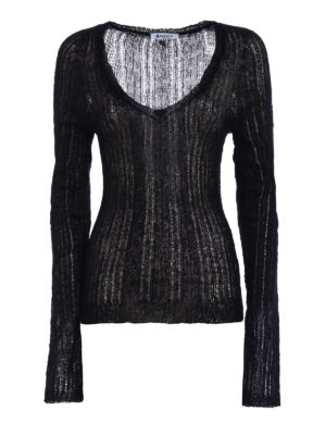 Dondup: v necks - See-through mohair blend sweater
