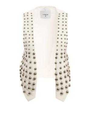 Dondup: waistcoats & gilets - Maxi studs linen waistcoat