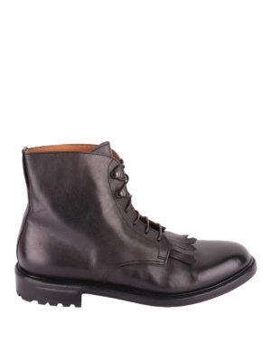 Doucal's: stivali - Stivaletti stringati in pelle con frange
