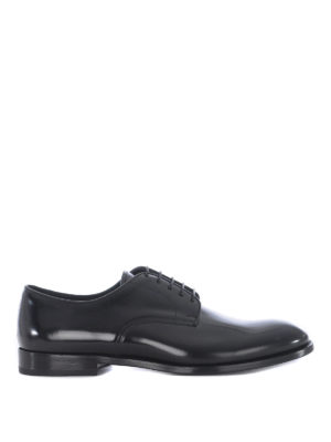 Doucal's: classic shoes - Black brushed leather Derby shoes