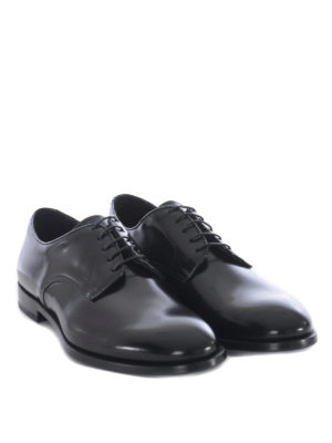 Doucal's: classic shoes online - Black brushed leather Derby shoes
