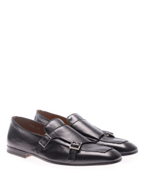 Doucal's: classic shoes online - Black Kid leather monkstraps