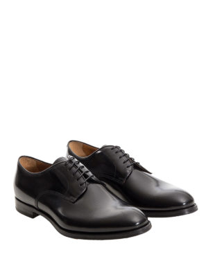 Doucal's: classic shoes online - Black polished leather Derby shoes