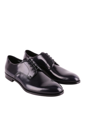 Doucal's: classic shoes online - Dark blue brushed leather Derby