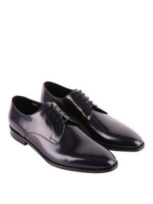 Doucal's: classic shoes online - Dark blue tapered toe Derby shoes